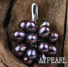 Black Freshwater Pearl Flower Shape Pendant (No Chain)