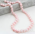 Wholesale Classic Design 9-10mm Baby Pink Freshwater Pearl Beaded Necklace
