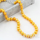 Wholesale Classic Design 9-10mm Golden Yellow Color Freshwater Pearl Beaded Necklace