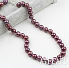 Wholesale Classic Design 9-10mm Dark Purple Freshwater Pearl Beaded Necklace