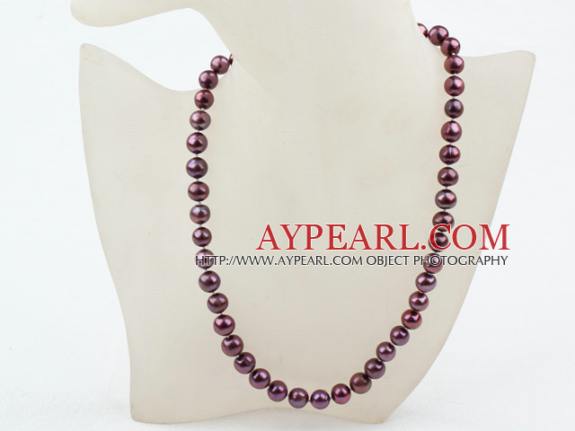 Classic Design 9-10mm Dark Purple Freshwater Pearl Beaded Necklace