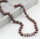 Wholesale Classic Design 9-10mm Coffee Color Freshwater Pearl Beaded Necklace