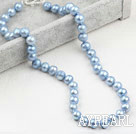 Wholesale Classic Design 9-10mm Light Blue Freshwater Pearl Beaded Necklace