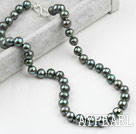 Classic Design 9-10mm Black Green Freshwater Pearl Beaded Necklace