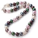 Wholesale Classic Design 9-10mm Multi Color Freshwater Pearl Beaded Necklace