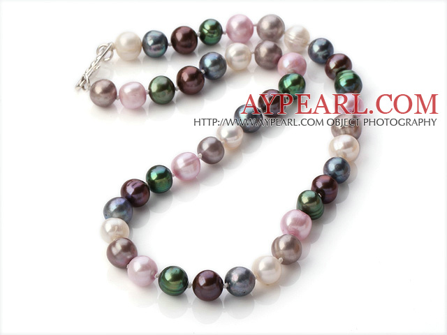 Classic Design 9-10mm Multi Color Freshwater Pearl Beaded Necklace