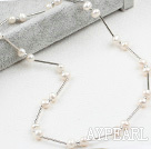Classic Design White Freshwater Pearl Tin Cup Necklace with Lobster Clasp
