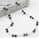 Classic Design Black Freshwater Pearl Tin Cup Necklace with Lobster Clasp