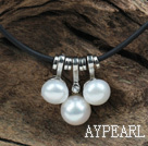 Wholesale Classic Design White Freshwater Pearl Pendant Necklace with Black Leather