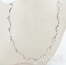 New Design White Freshwater Pearl Necklace with Metal Chain
