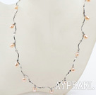 Ny design Pink Freshwater Pearl Necklace med Metal Chain