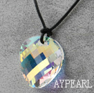 Simple Design White with Colorful Faceted Austrian Crystal Potato Chips Shape Pendant with Leather Chain
