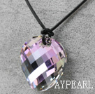 Simple Design Purple with Colorful Faceted Austrian Crystal Potato Chips Shape Pendant with Leather Chain