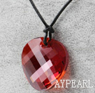 Simple Design Red Faceted Austrian Crystal Potato Chips Shape Pendant with Leather Chain
