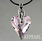 Simple Style 27mm Pink Austrian Crystal Heart Pendant Necklace