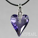 Simple Style 27mm Purple Austrian Crystal Heart Pendant Necklace