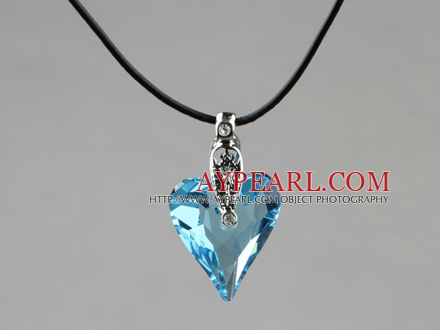 Simple Style 27mm Sky Blue Austrian Crystal Heart Pendant Necklace