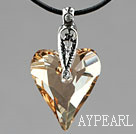 Simple Style 27mm Golden Champagne Austrian Crystal Heart Pendant Necklace