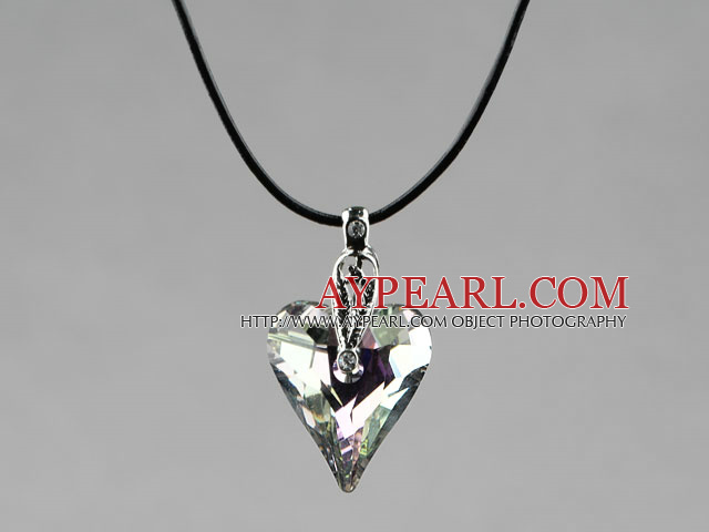 Simple Style 27mm Gray with Colorful Austrian Crystal Heart Pendant Necklace