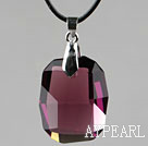 Simple Style de 28mm Violet Cristal-Rouge autrichienne arrondi Pendentif Rectangle