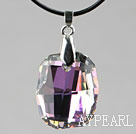 Simple Style 28mm Purple with Colorful Austrian Crystal Rounded Rectangle Pendant Necklace