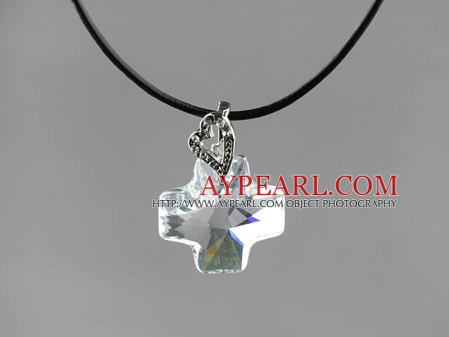 Simple Style 18mm White Color Austrian Crystal Cross Pendant Necklace