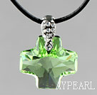 Simple Style 18mm Apple Green Color Austrian Crystal Cross Pendant Necklace