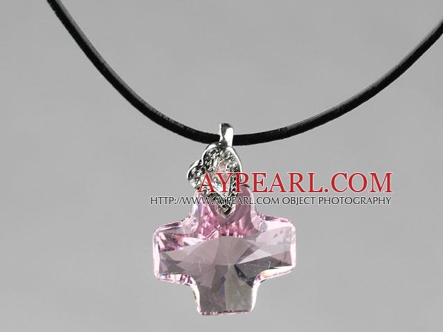 Simple Style 18mm Pink Purple Color Austrian Crystal Cross Pendant Necklace