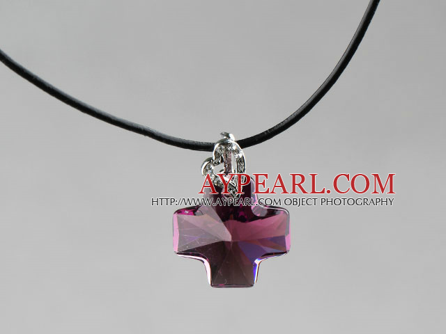 Simple Style 18mm Purple Red Color Austrian Crystal Cross Pendant Necklace