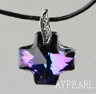 Simple Style 18mm Dark Purple with Colorful Austrian Crystal Cross Pendant Necklace