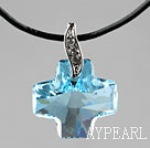 Simple Style 18mm Sky Blue Color Austrian Crystal Cross Pendant Necklace
