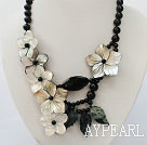 admirably black agate and lip shell flower necklace