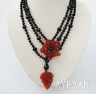 black and red agate beaded multi strand necklace