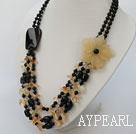 multi strand black agate and Citrine necklace with flower