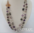Wholesale white crystal amethyst black rutilated quartz natural agate flower necklace