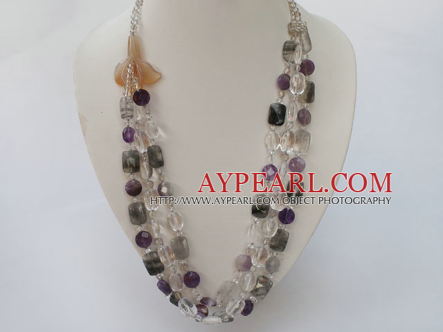 white crystal amethyst black rutilated quartz natural agate flower necklace