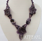 Wholesale carved amethyst flower necklace with toggle clasp