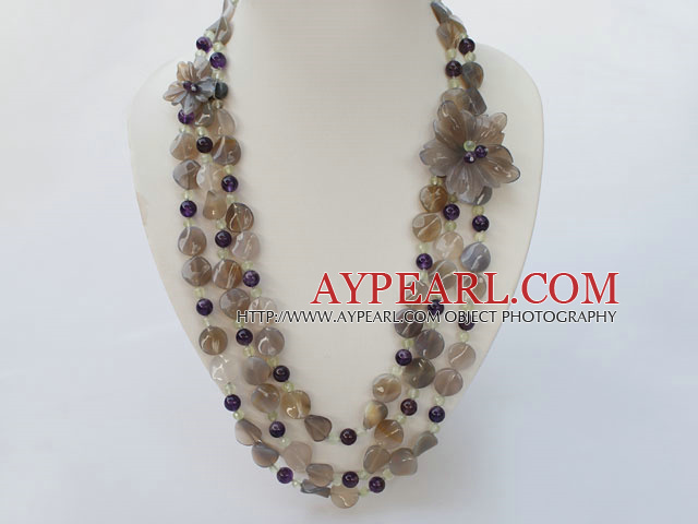 natural amethyst and grey agate necklace with flower