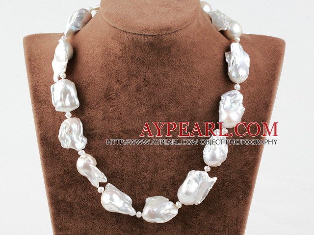 Single Strand Big White Nuclear Pearl Necklace