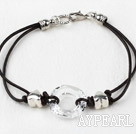 Simple Style Donut Shape White Color Austrian Crystal Bracelet