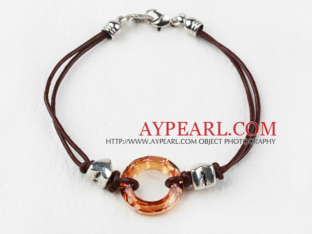 Simple Style Donut Shape Amber Color Austrian Crystal Bracelet