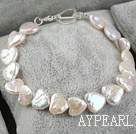Heart Shape Rebirth Pearl Bracelet with 925 Silver Heart Shape Toggle Clasp