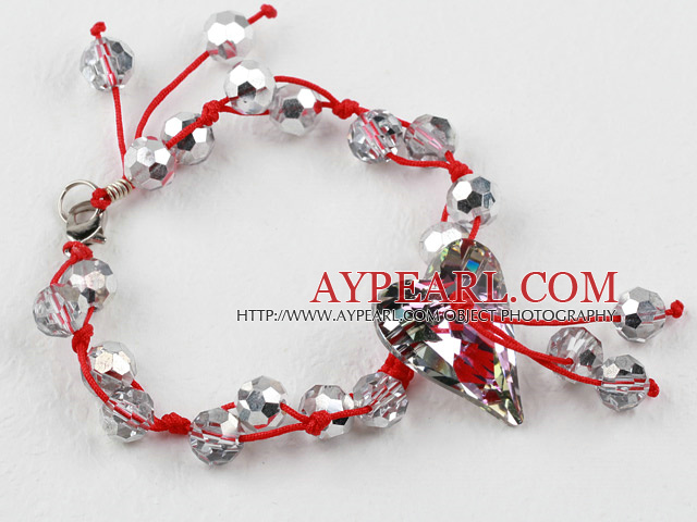 Silver Color Crystal and Heart Shape Austrian Crystal Bracelet with Red Thread