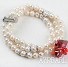 Wholesale Three Strand White Freshwater Pearl and Heart Shape Austrian Crystal Bridal Bracelet