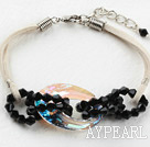 Simple Style Black Crystal and Austrian Crystal Donuts Bracelet with White Cord