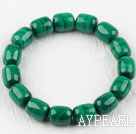 Wholesale A Grade Drum Shape Natural Malachite Elastic Bangle Bracelet