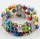 Classic Desgin Three Strands Multi Color Freshwater Pearl Elastic Bangle Bracelet
