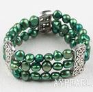 Classic Desgin Three Strands Green Freshwater Pearl Elastic Bangle Bracelet