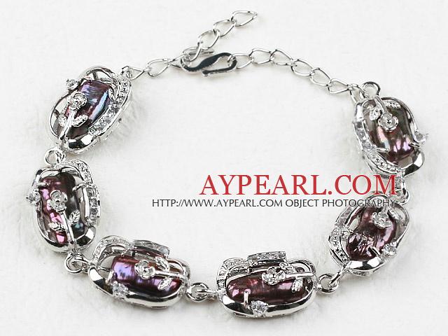 Fashion Style Natural Black Biwa Pearl Bracelet with Adjustable Chain