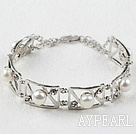 Fashion Style Natural White Pearl Metal Bangle Bracelet with Adjustable Chain